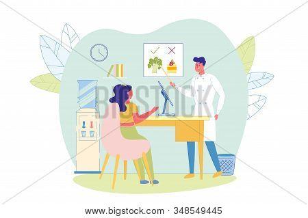 Woman Coming To Nutritionist Doctor Flat Cartoon Vector Illustration. Healthy Vegetables Vs Junk Foo