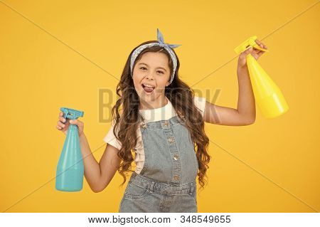 Neat Is My Middle Name. Funny Small Housekeeper. Little Housekeeper Hold Spray Bottles On Yellow Bac