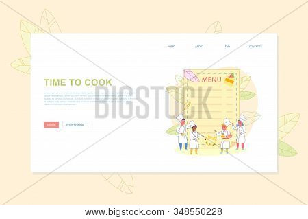 Flat Landing Page With Cartoon Empty Menu List Design And Happy Little Children In Cook Chef Clothes