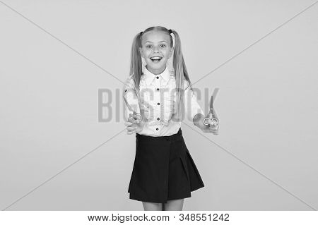 Excited About Crafting. Schoolgirl Hold School Stationery Supplies For Crafts. Creative Crafts. Favo