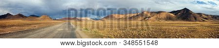 Evening Panoramic View Of Pamir Highway Or Pamirskij Trakt, Road M-41, International Road In Tajikis