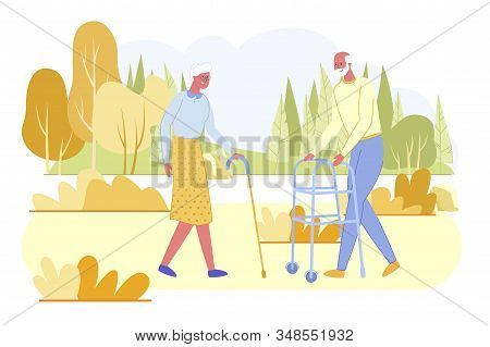 Loving Senior Couple. Aged Man With Wheeled Frame And Old White Haired Woman With Walking Cane Spend