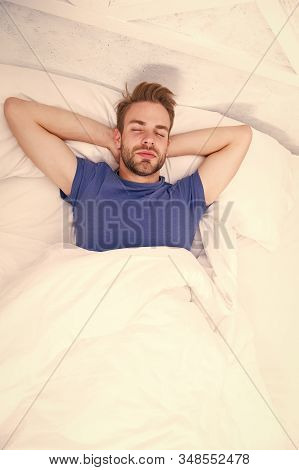 Relaxing Before Fall Asleep. Get Enough Amount Of Sleep Every Night. Bearded Man Face Relaxing. Main