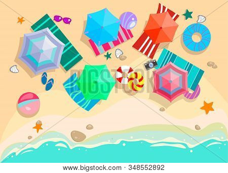 Summer Beach With Sand, Sea Waves, Umbrellas, Sun Beds. Top View Seaside Resort. Vector Illustration