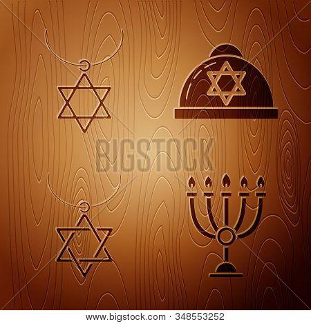 Set Hanukkah Menorah, Star Of David Necklace On Chain, Star Of David Necklace On Chain And Jewish Ki