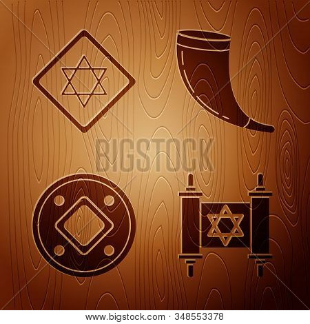 Set Torah Scroll, Star Of David, Jewish Coin And Traditional Ram Horn, Shofar On Wooden Background.