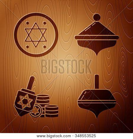 Set Hanukkah Dreidel, Jewish Coin, Hanukkah Dreidel And Coin And Hanukkah Dreidel On Wooden Backgrou