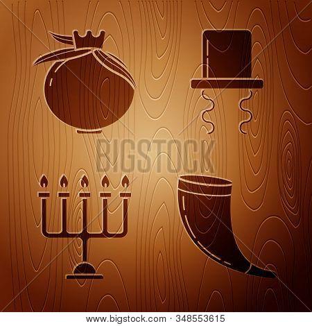 Set Traditional Ram Horn, Shofar, Pomegranate, Hanukkah Menorah And Orthodox Jewish Hat With Sideloc