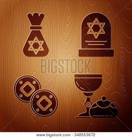 Set Jewish Goblet And Hanukkah Sufganiyot, Jewish Money Bag With Star Of David, Jewish Coin And Tomb
