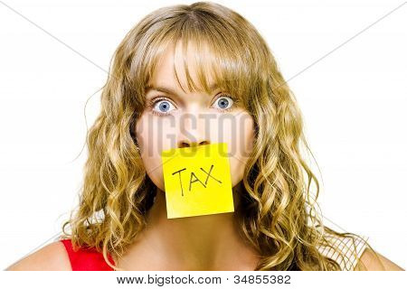 Woman With Tax Note Over Mouth