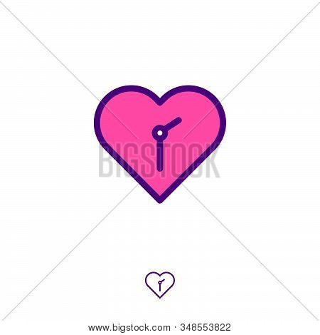 Love Time Icon. Abstract Emblem. Heart And Arrows Of Clock. Time To Check Health. Time To Buy Gift A
