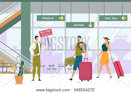 Man With Signboard Meeting Guests In Airport. Tourists With Luggage Departure To Terminal. Travel Ag