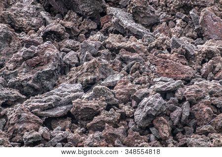 Leilani Estate, Hawaii, Usa. - January 14, 2020: 2018 Kilauea Volcano Eruption Hardened Black Lava F