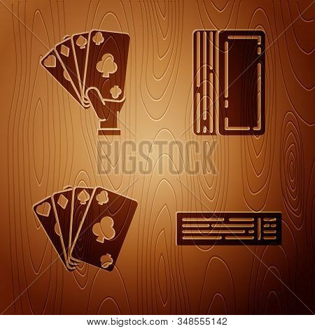 Set Deck Of Playing Cards, Hand Holding Playing Cards, Playing Cards And Deck Of Playing Cards On Wo