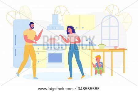 Little Boy Sitting Under Table And Watching Parents Quarrelling Flat Cartoon Vector Illustration. Vi