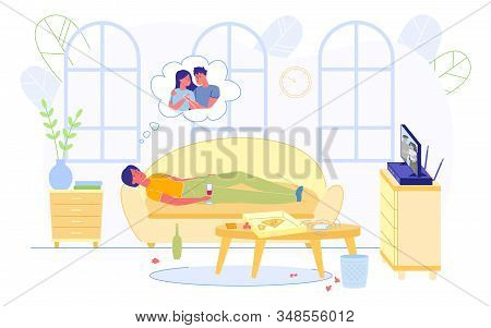 Poster Depression From Breaking Love Relationship. Girl Lies At Home On Couch Bad Mood, Drinks Wine
