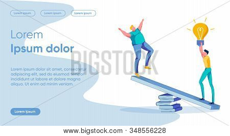 Idea Importance Flat Landing Page Vector Template. Solution Weightiness Metaphor. Fat Man And Skinny