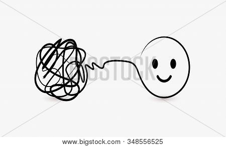 Doodle Symbol Of Difficult And Complex Task, Clew Of Thread And Symbol Of Solved Problem Circle With