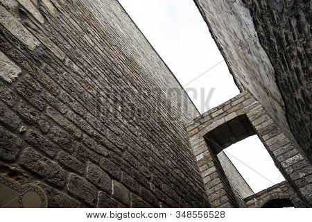 Empty Street In Old City Of Baku, Azerbaijan. Old City Baku. Inner City Buildings.