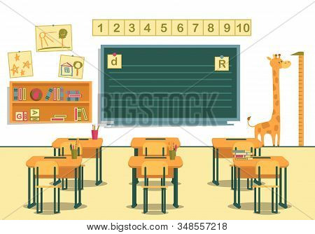 Classroom In Primary School. View From Students Desks To Blackboard With Numbers From One To Ten Abo