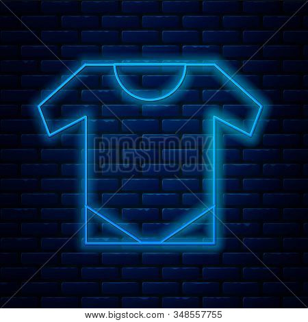 Glowing Neon Line Baby Onesie Icon Isolated On Brick Wall Background. Baby Clothes Symbol. Kid Wear