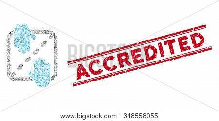 Mosaic Authorized Shares Pictogram And Red Accredited Seal Between Double Parallel Lines. Flat Vecto