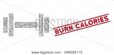 Mosaic Barbell Pictogram And Red Burn Calories Stamp Between Double Parallel Lines. Flat Vector Barb