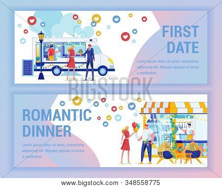Romantic Dinner And First Date In Nice Place. Guy Gives Girl Bouquet Flowers, They Met At Van With F