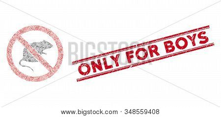 Mosaic No Rats Pictogram And Red Only For Boys Seal Stamp Between Double Parallel Lines. Flat Vector