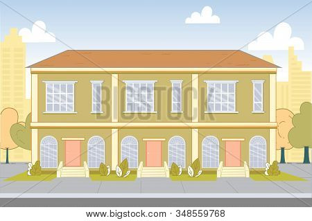 Two-storied Building Exterior With Three Entrance. Condominium Facade. Hotel Or Hostel. Residential