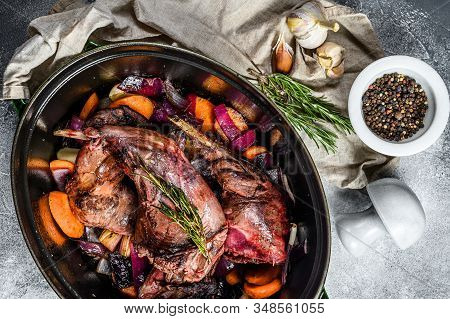 Rabbit With Vegetable In White Wine Sauce, Stewpot. Organic Farm Meat. Cooking Stew. Top View