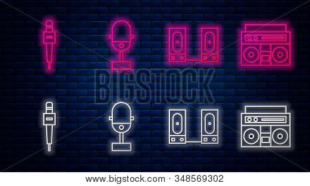 Set Line Microphone, Stereo Speaker, Microphone And Home Stereo With Two Speakers. Glowing Neon Icon