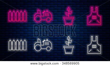 Set Line Tractor, Plant In Pot, Garden Fence Wooden And Kitchen Apron. Glowing Neon Icon On Brick Wa