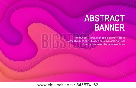 Paper Cut Background Of Purple Color. Abstract Soft Purple Paper Poster Textured With Wavy Layers. C