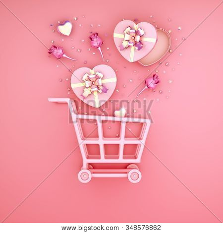 Happy Valentines Day, Valentines Day Background, Rose Flower Heart Shape Gift Box , Trolley Cart, Go