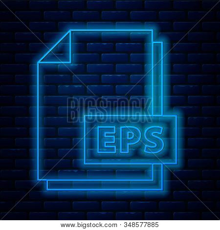 Glowing Neon Line Eps File Document. Download Eps Button Icon Isolated On Brick Wall Background. Eps