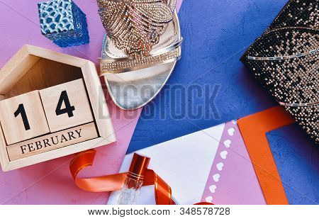 Happy Valentines Day, Valentines Day Background, Wooden Calendar On February 14, Woman Hand Bag, Hig