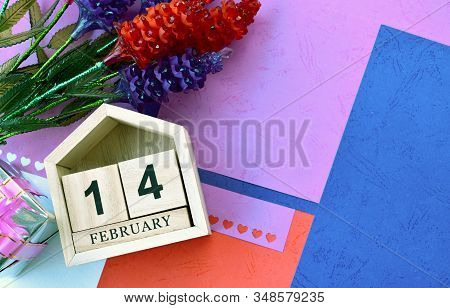 Happy Valentines Day, Valentines Day Background, Wooden Calendar On February 14, Crystal Flower, Top