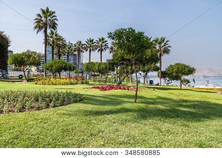Miraflores, Lima, Peru - May 10, 2016: Beautiful Landscaping In El Parque Del Amor (love Park) With