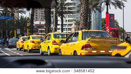 Miraflores, Lima, Peru- May 10, 2016: Driving In A City Where The Large Mayority Of Vehicles On The