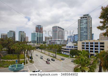 Long Beach, Ca, Usa - Jun. 22, 2019: Long Beach Modern Buildings Including California Bank & Trust A