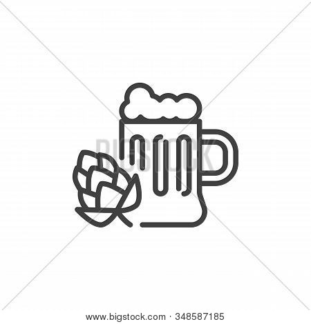 Hop Beer Mug Line Icon. Linear Style Sign For Mobile Concept And Web Design. Craft Beer Mug With Foa