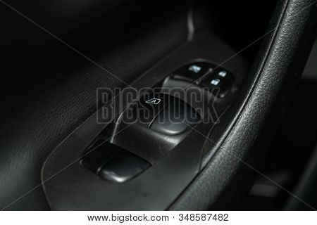 Novosibirsk, Russia - December 01, 2019:  Nissan Teana,  Close Up Of A Door Control Panel In A New M