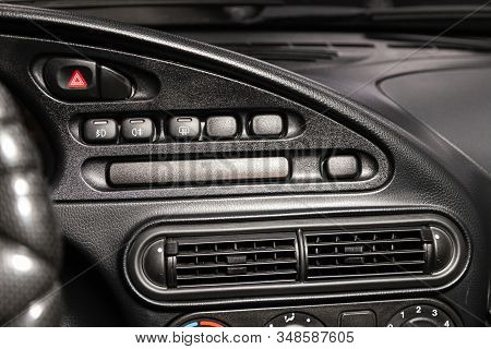 Novosibirsk, Russia - December 06, 2019:  Lada 4x4 Niva, Close Up Car Ventilation System And Alarm ,