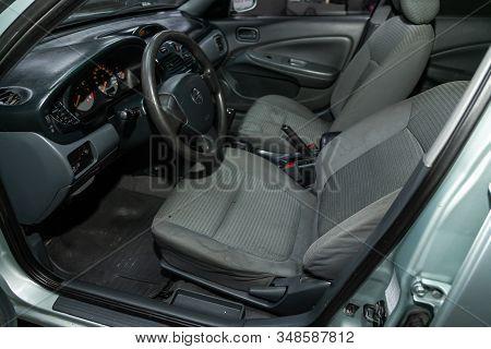 Novosibirsk, Russia - December 06, 2019:  Nissan Almera, Car Interior - Steering Wheel, Shift Lever,