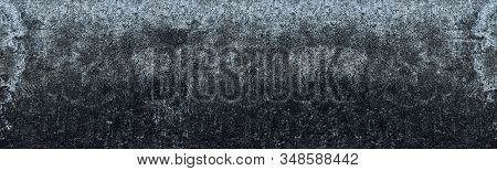Old Shabby Textured Concrete Wall. Rough Cement Long Panoramic Texture. Grunge Gloomy Banner Backdro