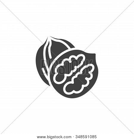 Walnut Nut Vector Icon. Filled Flat Sign For Mobile Concept And Web Design. Whole And Peeled Walnut