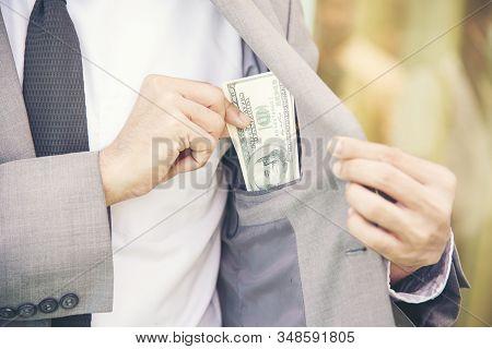 Greedy Bribery Corruption Is Serious Challenge For Anti-fraud Companies. Greed Businessman Aim To Ov
