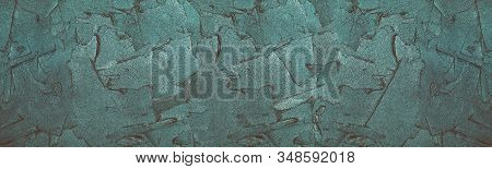 Wet Shiny Plaster Long Texture. Mortar Strokes Retro Backdrop. Vintage Blue Widescreen Creative Back