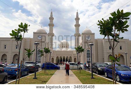 Negeri Sembilan, Malaysia - October 10, 2019 : Masjid Sri Sendayan Also Known As The White Mosque, T
